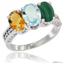 14K White Gold Natural Citrine, Aquamarine & Malachite Ring 3-Stone 7x5 mm Oval Diamond Accent