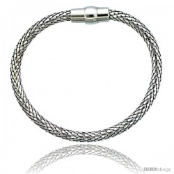 Sterling Silver Flexible Bangle Bracelet w/ Magnetic Clasp in White Gold Finish, 3/16 in. (4.5 mm) wide