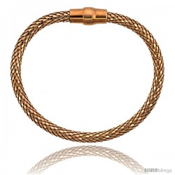 Sterling Silver Flexible Bangle Bracelet w/ Magnetic Clasp in Rose Gold Finish, 3/16 in. (4.5 mm) wide