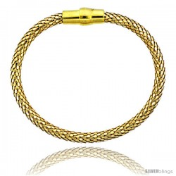Sterling Silver Flexible Bangle Bracelet w/ Magnetic Clasp in Yellow Gold Finish, 3/16 in. (4.5 mm) wide