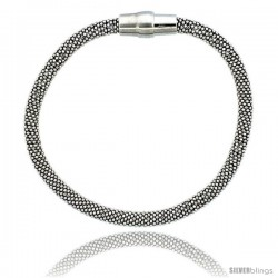 Sterling Silver Flexible Beaded Bangle Bracelet w/ Magnetic Clasp in White Gold Finish, 3/16 in. (4.5 mm) wide