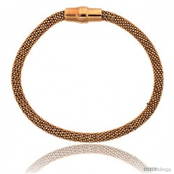 Sterling Silver Flexible Beaded Bangle Bracelet w/ Magnetic Clasp in Rose Gold Finish, 3/16 in. (4.5 mm) wide