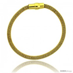 Sterling Silver Flexible Beaded Bangle Bracelet w/ Magnetic Clasp in Yellow Gold Finish, 3/16 in. (4.5 mm) wide