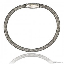 Sterling Silver Flexible Mesh Bangle Bracelet w/ Magnetic Clasp in White Gold Finish, 5/32 in. (4 mm) wide