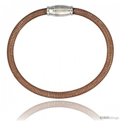 Sterling Silver Flexible Mesh Bangle Bracelet w/ Magnetic Clasp in Rose Gold Finish, 5/32 in. (4 mm) wide