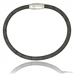 Sterling Silver Flexible Mesh Bangle Bracelet w/ Magnetic Clasp in Black Ruthenium Finish, 5/32 in. (4 mm) wide
