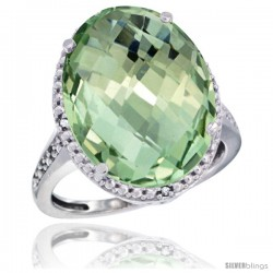 14k White Gold Diamond Green-Amethyst Ring 13.56 Carat Oval Shape 18x13 mm, 3/4 in (20mm) wide
