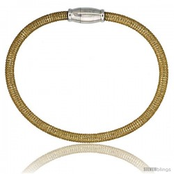 Sterling Silver Flexible Mesh Bangle Bracelet w/ Magnetic Clasp in Yellow Gold Finish, 5/32 in. (4 mm) wide