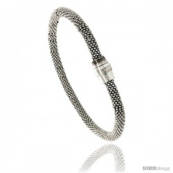 "Sterling Silver 7"" Flexible Beaded Bangle Bracelet w/ Magnetic Clasp in White Gold Finish, 3/16 in. (4.5 mm) wide"