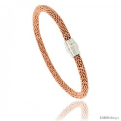"Sterling Silver 7"" Flexible Beaded Bangle Bracelet w/ Magnetic Clasp in Rose Gold Finish, 3/16 in. (4.5 mm) wide"