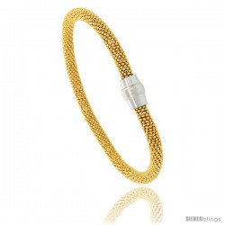 "Sterling Silver 7"" Flexible Beaded Bangle Bracelet w/ Magnetic Clasp in Yellow Gold Finish, 3/16 in. (4.5 mm) wide"