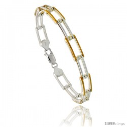 Sterling Silver Binario Bar Link Bracelet w/ Gold Finish), 1/4 in. (7 mm) wide