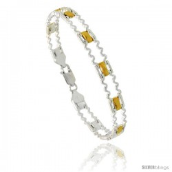 Sterling Silver Zigzag Bar Link Bracelet w/ Gold Finish), 9/32 in. (7 mm) wide