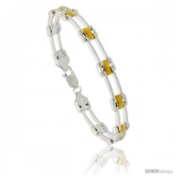 Sterling Silver Cut Out Bar Link Bracelet w/ Gold Finish), 9/32 in. (7 mm) wide