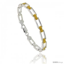 Sterling Silver Cut Out Bar Link Bracelet w/ Gold Finish), 3/16 in. (5 mm) wide