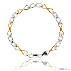 Sterling Silver Cut Out Hourglass & Bar Link Bracelet w/ Gold Finish), 1/4 in. (6 mm) wide