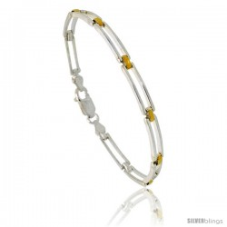 Sterling Silver Cut Out Bar Link Bracelet w/ Gold Finish), 3/16 in. (4.5 mm) wide