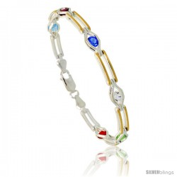 Sterling Silver Multi Color CZ Stone Bar Link Bracelet w/ Gold Finish), 1/4 in. (6 mm) wide