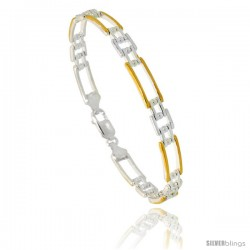 Sterling Silver Cut Out Bar Link Beaded Bracelet w/ Gold Finish), 1/4 in. (6 mm) wide