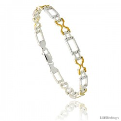 Sterling Silver Cut Out Hourglass & Bar Link Beaded Bracelet w/ Gold Finish), 1/4 in. (6 mm) wide