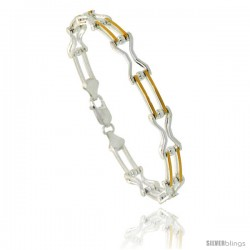 Sterling Silver Binario Hourglass & Bar Link Bracelet w/ Gold Finish), 1/4 in. (7 mm) wide
