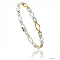 Sterling Silver Cut Out Shapes Link Bracelet w/ Gold Finish), 7/32 in. (5.5 mm) wide