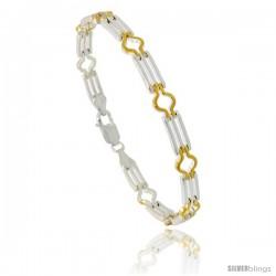 Sterling Silver Striped Bar Link Bracelet w/ Gold Finish), 1/4 in. (6 mm) wide