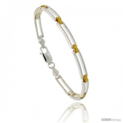 Sterling Silver Cut Out Bar Link Bracelet w/ Gold Finish), 5/32 in. (4 mm) wide
