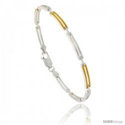 Sterling Silver Thin Cut Out Bar Link Bracelet w/ Gold Finish), 1/8 in. (3.5 mm) wide