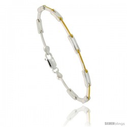 Sterling Silver Thin Cut Out Bar Link Bracelet w/ Gold Finish), 1/8 in. (3 mm) wide