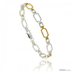 Sterling Silver Cut Out Bar Link Bracelet w/ Gold Finish), 1/4 in. (6 mm) wide