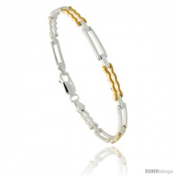 Sterling Silver Cut Out Bar Link Bracelet w/ Gold Finish), 5/32 in. (4 mm) wide -Style Bng32