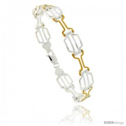 Sterling Silver Striped Bar Link Bracelet w/ Gold Finish), 7/16 in. (11 mm) wide