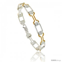 Sterling Silver Cut Out Bar Link Bracelet w/ Gold Finish), 1/4 in. (6 mm) wide -Style Bng6