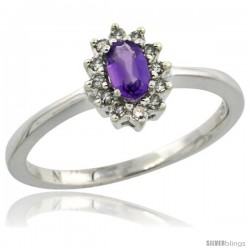 14k White Gold Diamond Halo Amethyst Ring 0.25 ct Oval Stone 5x3 mm, 5/16 in wide