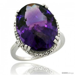 14k White Gold Diamond Halo Large Amethyst Ring 10.3 ct Oval Stone 18x13 mm, 3/4 in wide