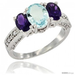 14k White Gold Ladies Oval Natural Aquamariine 3-Stone Ring with Amethyst Sides Diamond Accent