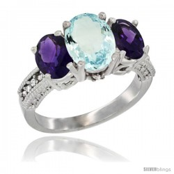 14K White Gold Ladies 3-Stone Oval Natural Aquamarine Ring with Amethyst Sides Diamond Accent