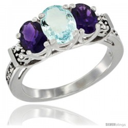 14K White Gold Natural Aquamarine & Amethyst Ring 3-Stone Oval with Diamond Accent