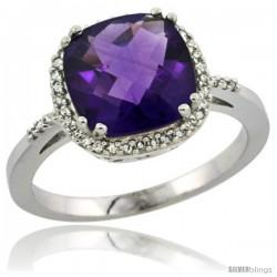 14k White Gold Diamond Amethyst Ring 3 ct Cushion Cut 9x9 mm, 1/2 in wide