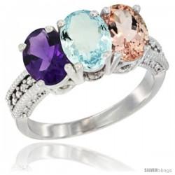 14K White Gold Natural Amethyst, Aquamarine & Morganite Ring 3-Stone 7x5 mm Oval Diamond Accent