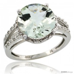 14k White Gold Diamond Green-Amethyst Ring 5.25 ct Round Shape 11 mm, 1/2 in wide