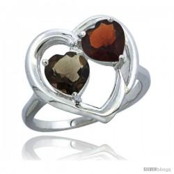 10K White Gold Heart Ring 6mm Natural Smoky Topaz & Garnet Diamond Accent