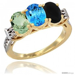 10K Yellow Gold Natural Green Amethyst, Swiss Blue Topaz & Black Onyx Ring 3-Stone Oval 7x5 mm Diamond Accent