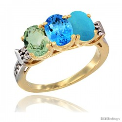 10K Yellow Gold Natural Green Amethyst, Swiss Blue Topaz & Turquoise Ring 3-Stone Oval 7x5 mm Diamond Accent