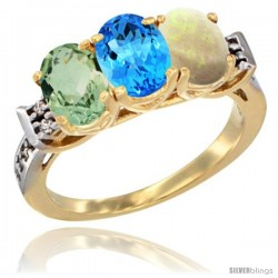 10K Yellow Gold Natural Green Amethyst, Swiss Blue Topaz & Opal Ring 3-Stone Oval 7x5 mm Diamond Accent