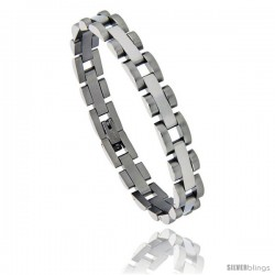 Stainless Steel Polished Bar Link Satin Finish Edge Bracelet, 5/16 in wide, 7.5 in long