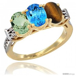 10K Yellow Gold Natural Green Amethyst, Swiss Blue Topaz & Tiger Eye Ring 3-Stone Oval 7x5 mm Diamond Accent