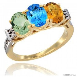10K Yellow Gold Natural Green Amethyst, Swiss Blue Topaz & Whisky Quartz Ring 3-Stone Oval 7x5 mm Diamond Accent