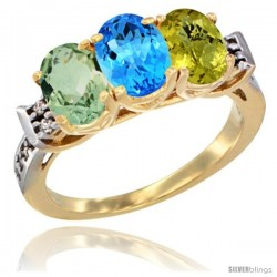 10K Yellow Gold Natural Green Amethyst, Swiss Blue Topaz & Lemon Quartz Ring 3-Stone Oval 7x5 mm Diamond Accent
